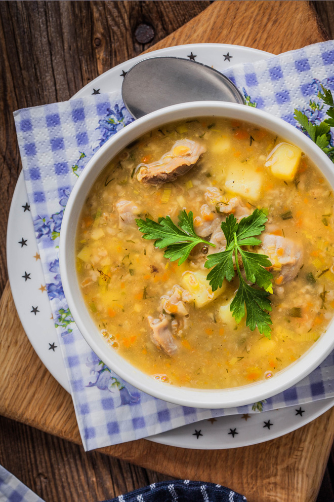 Krupnik Polish soup with barley