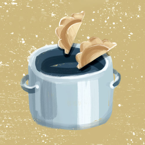 How to cook frozen pierogi? By boiling. lllustration drawn by Kasia Kronenberger