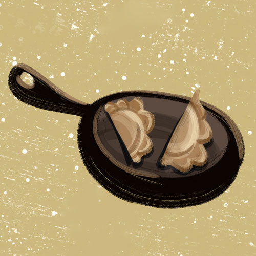 How to cook pierogi? By frying. lllustration drawn by Kasia Kronenberger