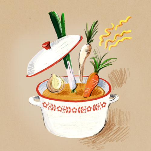 Hand drawn illustration of Polish chicken soup / broth (rosół z kury) by Kasia Kronenberger