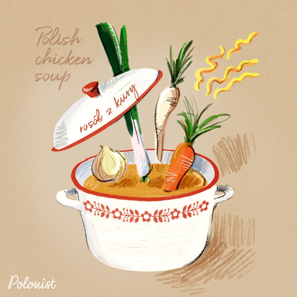 Hand drawn illustration of Polish chicken soup / broth (rosół z kury) by Kasia Kronenberger