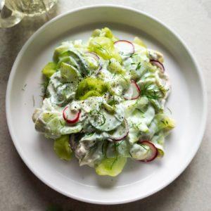 Polish recipe idea for salad: Mizeria (Polish cucumber salad)