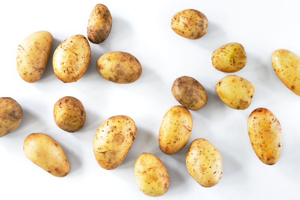 """New """"baby"""" potatoes on a white background. Shot from above."""