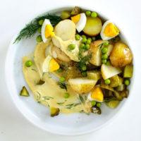 Polish Potato Salad with Apple and Peas