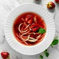 Clear Strawberry Soup with Egg Noodles