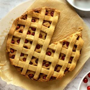 Flat lay Gooseberry Pie with Lattice on white background