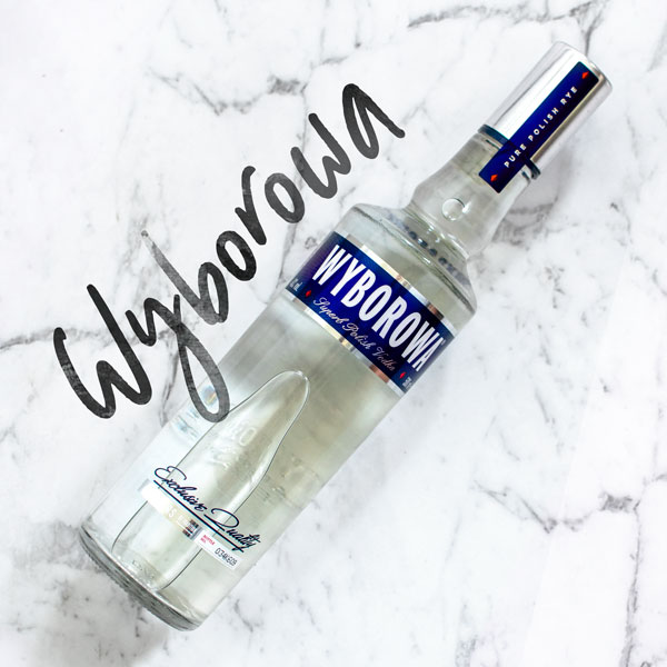 Wyborowa Vodka on white background