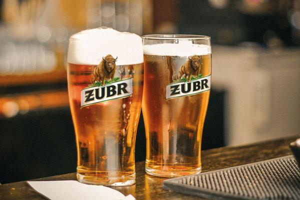 Two glasses of Żubr Polish beer