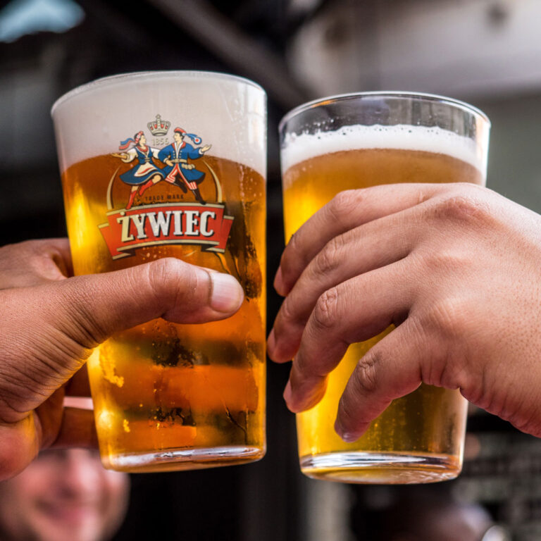 2 glasses of Polish Beer