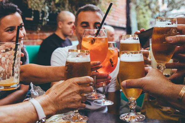 Group of friends enjoying beer