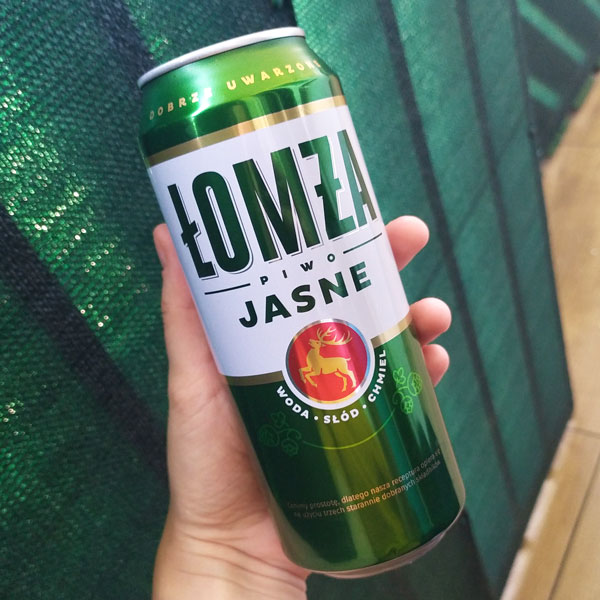 """""""Łomża"""" - brand of Polish beer - in a can"""