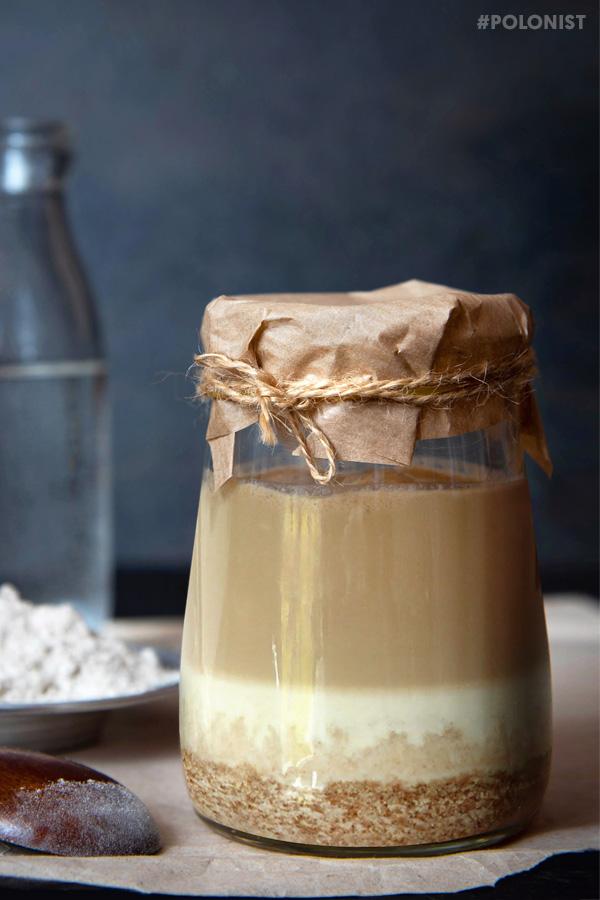 A jar with rye 'zakwas' - a fermented flour starter for Polish Żurek soup
