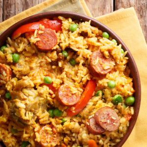 Kielbasa and rice, fried with eggs and peppers
