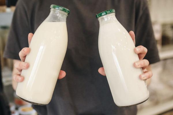 Fresh milk in bottles