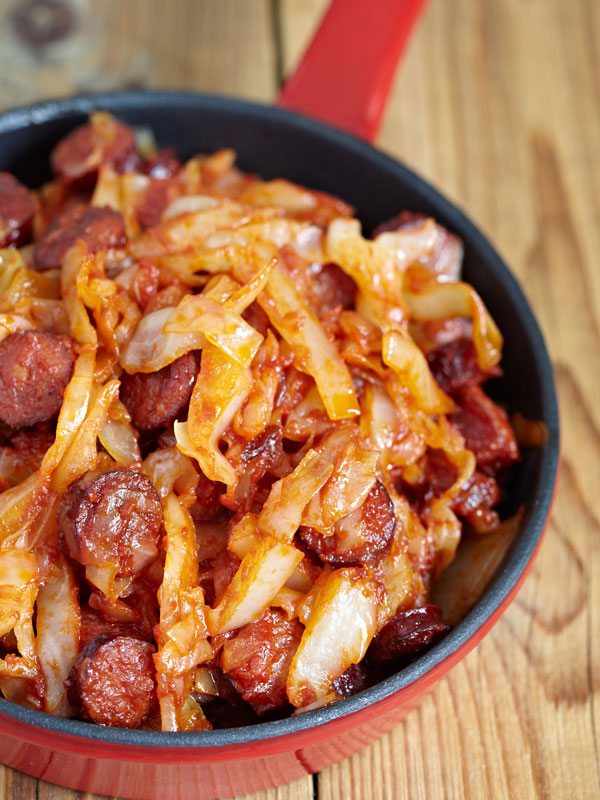 Skilled with with cooked cabbage with Polish sausage (kielbasa)