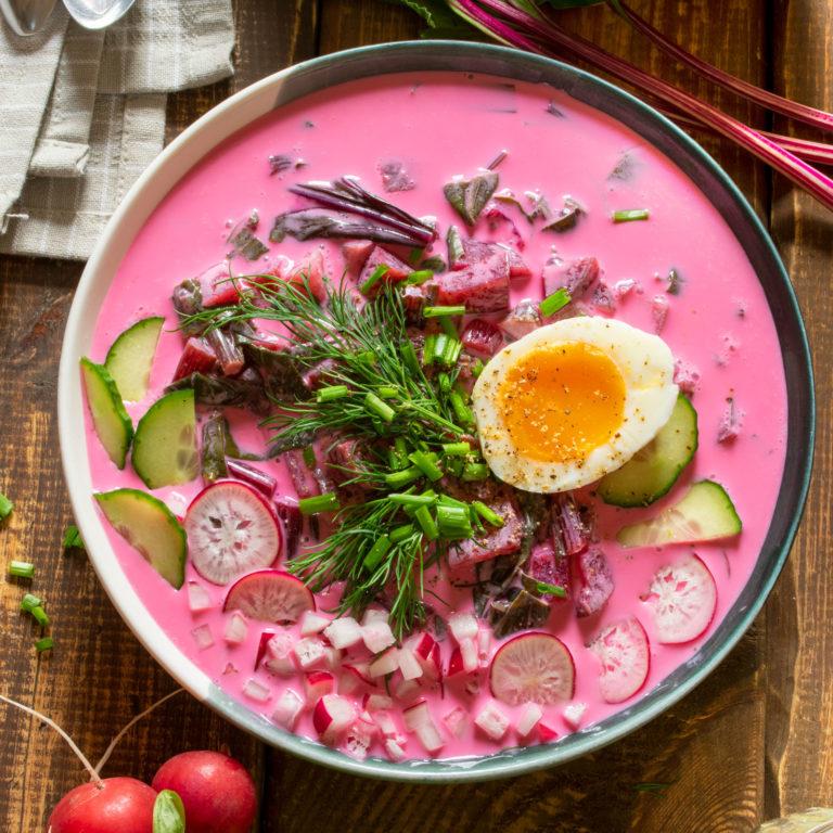 Polish Cold Beet Soup, Lithuanian-style (Chłodnik)