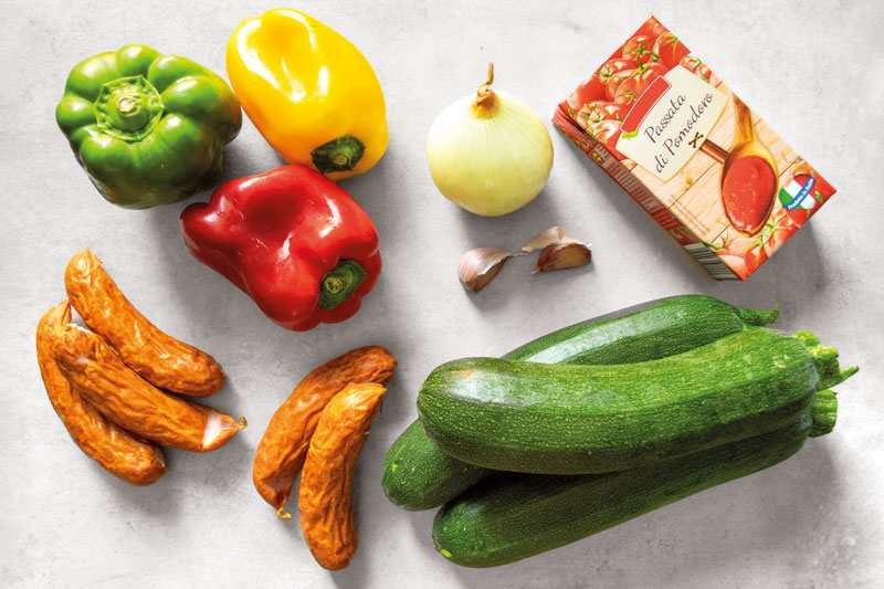 Ingredients for Polish-style Zucchini Stew with Sausage