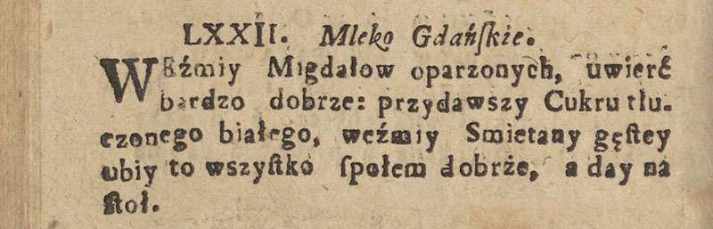 Original Polish recipe from 1682 for Almond Whipped Cream